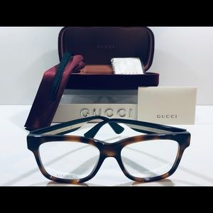 Gucci Men's Eyeglasses Havana Brown w/ Stripes